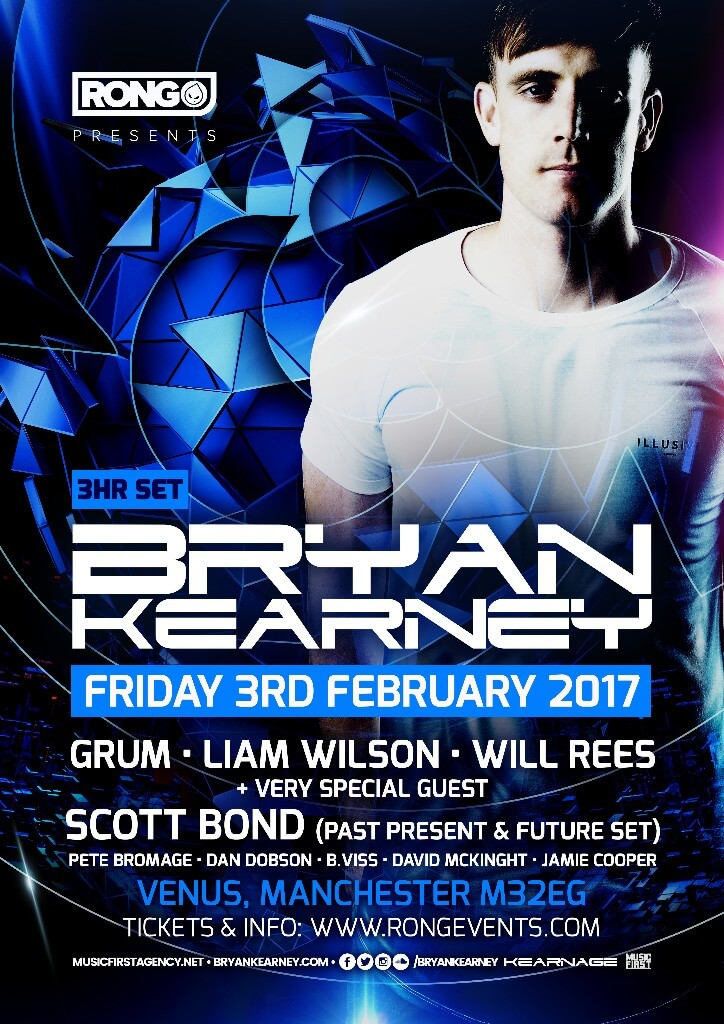 RONG presents Bryan Kearney, Scott Bond, Grum, Will Rees, Liam Wilson and more @ Venus, Manchester, UK on 3rd February 2017
