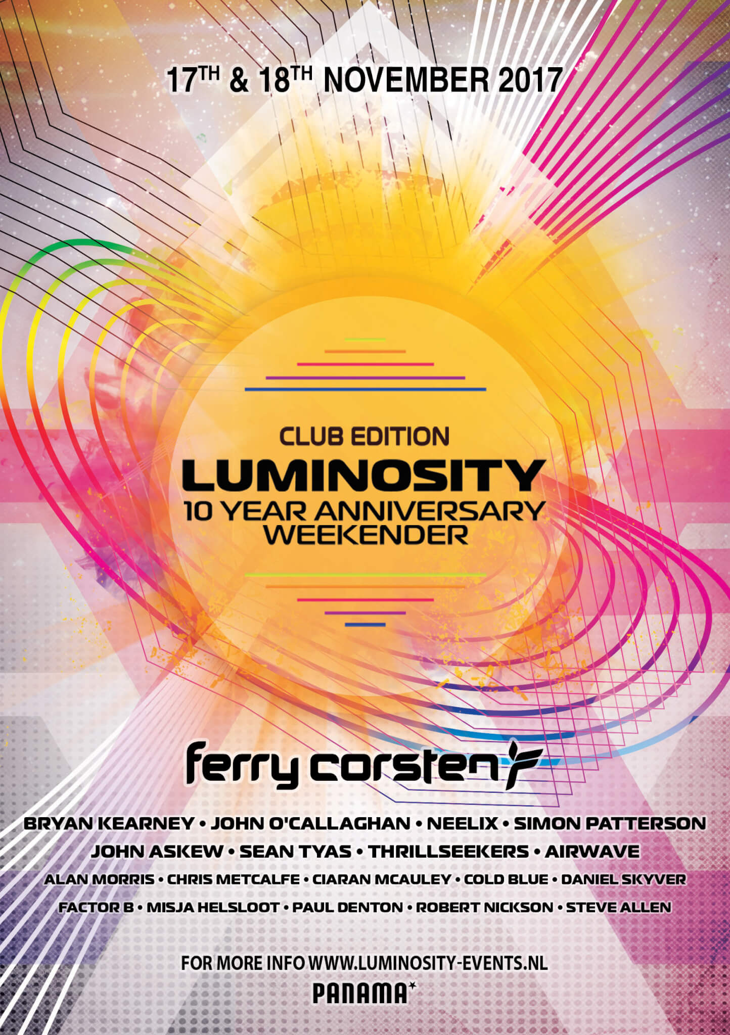 Luminosity Events presents Luminosity 10 Year Anniversary Weekender at Panama Club, Amsterdam, Netherlands on 17th and 18th of November 2017