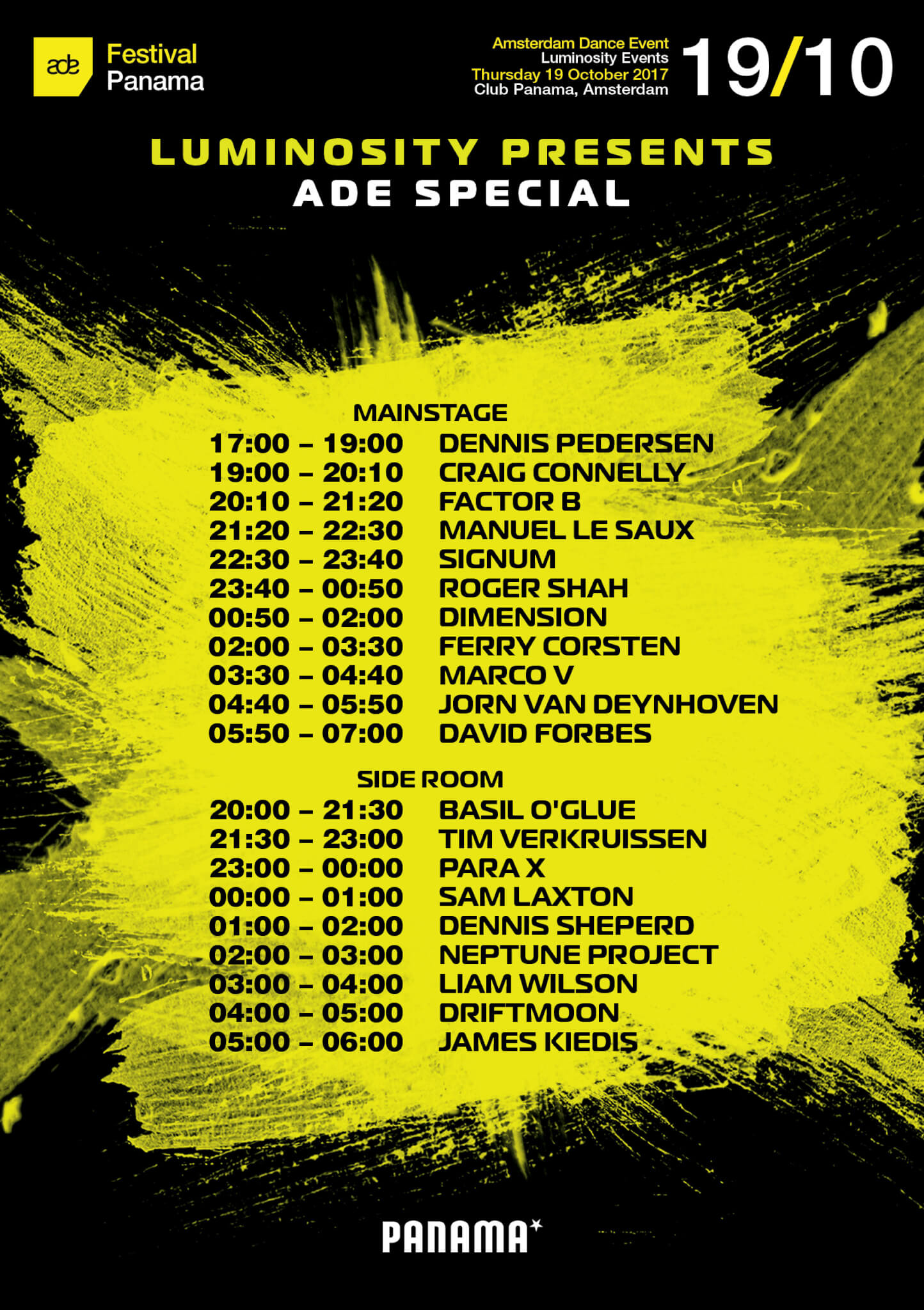 Luminosity presents ADE Special at Club Panama, Amsterdam on 19th of October 2017